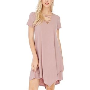 NWT Veveret boutique uneven hem strap front dress